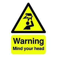 Warning Mind Your Head A5 Self-Adh Sign
