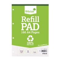 Silvine A4 Refill Pad 4 Hole RE4FM-T Pk6