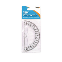 180 Degree Protractor Clear Pk12