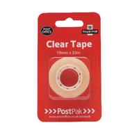 Postpak Clear Sticky Tape 33m Pk12