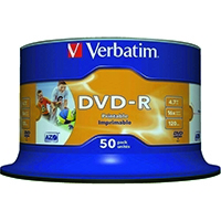 Verbatim DVD-R 16X I/jet Printable 43649