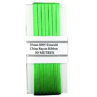 China Ribbon Rayon Green Card 5mmx50m