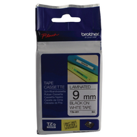 Original Brother PTouch Tape Black on White TZ221