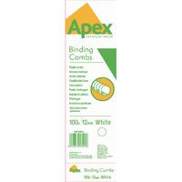 Fellowes Apex Plas White 12mm Comb Pk100